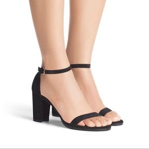 The Nearly Nude Sandel Black Suede